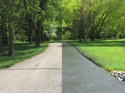 Driveway Sealcoating Before and After